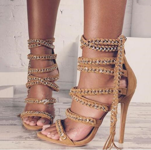 Knotted tassel open toe dress sandals for women cross-tied lace up ankle strap high heels platform gladiator sandals women heels retro tiny bell tassel anklet for women