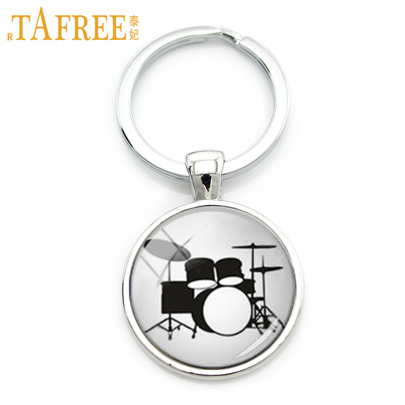 TAFREE Drum Kit Silhouette Key Chain DJ Turner Mixer Simple Drum Set Profile Pattern Keychain Drummer Jewelry Music Gifts KC595