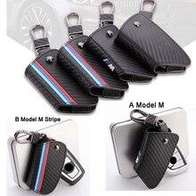Caso de La Cubierta Clave Titular De La Cadena Dominante de Cuero de Fibra De carbono Cubierta Remoto Para la Llave de BMW caso 1 3 5 6 7 Series X3 X1 X4 X5 X6 Clave Cubierta