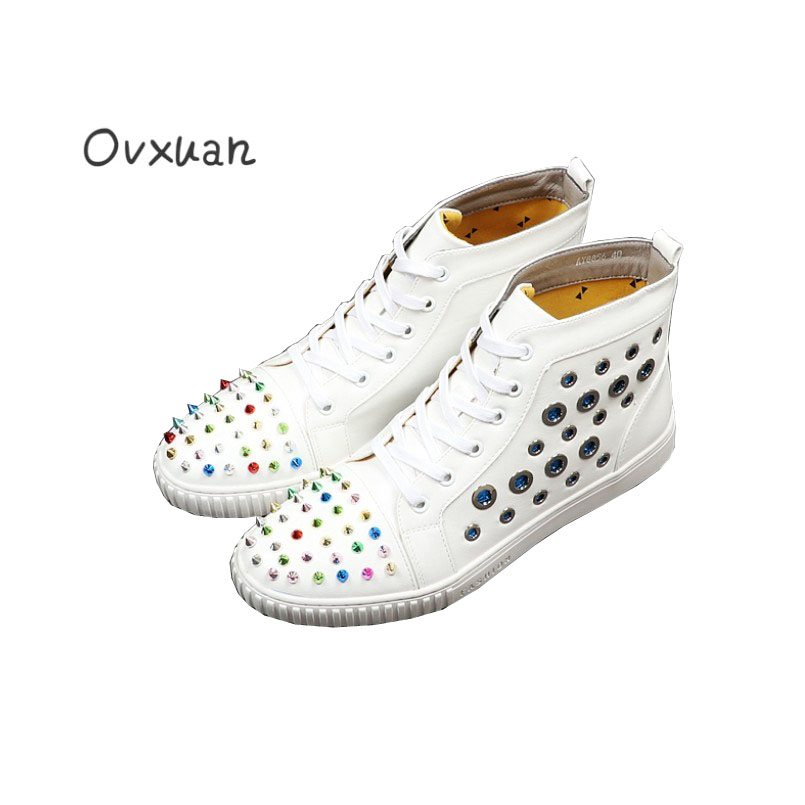 Здесь продается  Ovxuan Multicolor Rivets Metal Rings High Top Shoes Men Fashion Party and Prom Men Dress Shoes Italy Design Street Sneaker Shoes  Обувь