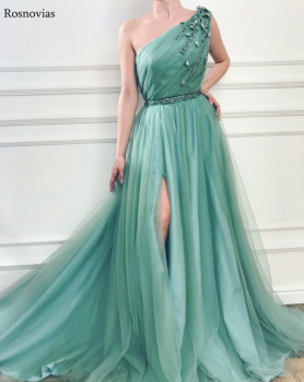 2019 New Arrive Prom Dresses Long One Shoulder Peplum Side Split Sweep Train Modern Evening Party Dresses Formal Gowns Custom