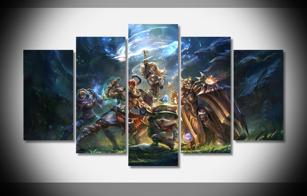 wall painting league of legends team builder art wall poster print on canvas framed art prints