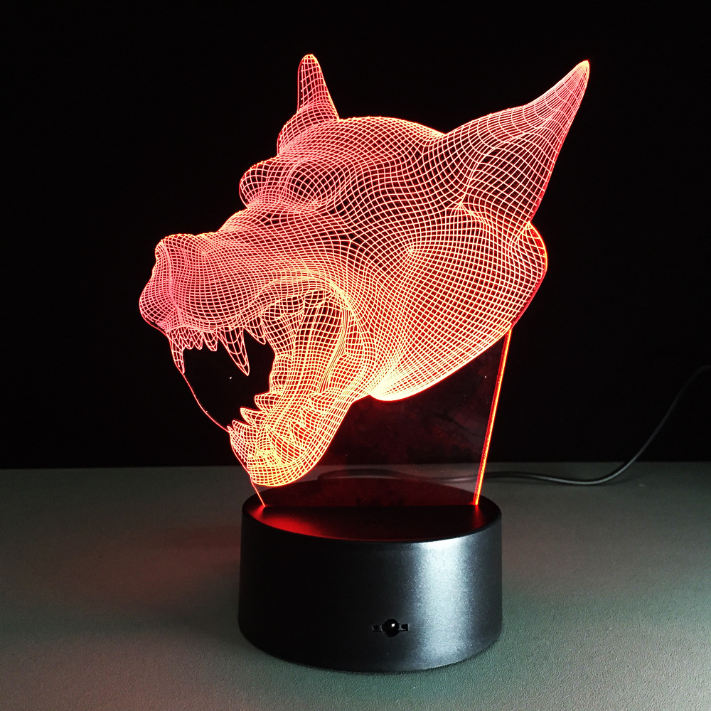 1 PC 3D Illusion Wolf head Lamp Colorful Acrylic LED Night Light Micro USB Table Desk Lamp Wedding Decor Christmas Gift цена