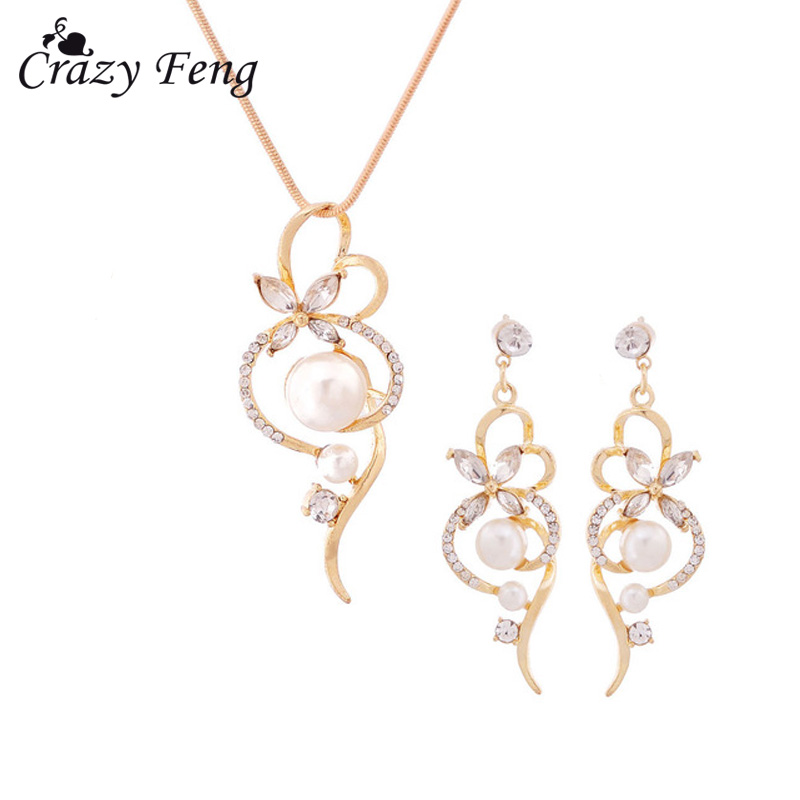 Simulated Pearl Jewelry Sets Austrian Crystal Wedding Accessories Gold Silver Pleated Necklace Earrings Jewelry Set for Women
