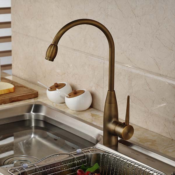 Antique Brass Kitchen Faucet Single Handle Swivel Spout Vessel Sink Mixer Tap Deck Mounted led spout swivel spout kitchen faucet vessel sink mixer tap chrome finish solid brass free shipping hot sale