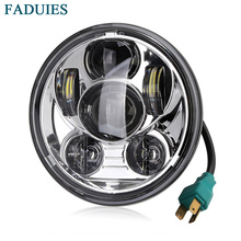 FADUIES 45W Chrome 5.75 Inch Round LED Projection Daymaker Headlight for Harley Davidson Dyna Motorcycles Lighting
