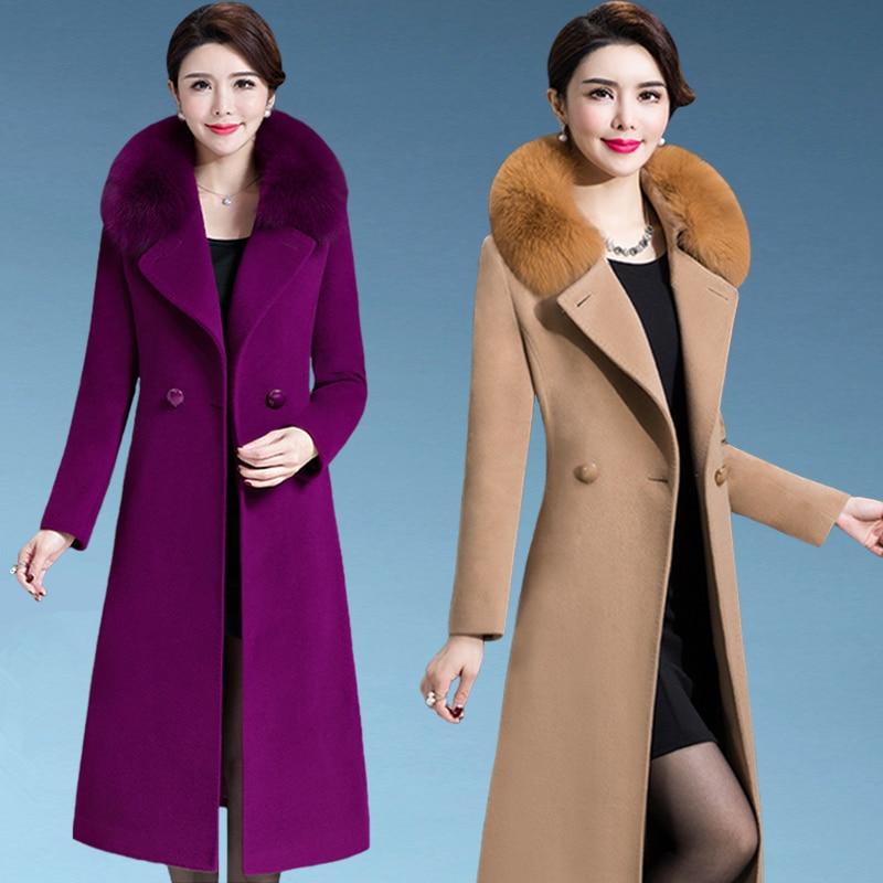 M-4XL для женщин шерсть пальто зима осень 2018 Мода мать Лисий меховой воротник Сгущает шерстяная куртка Длинная Верхняя одежда Топы Корре