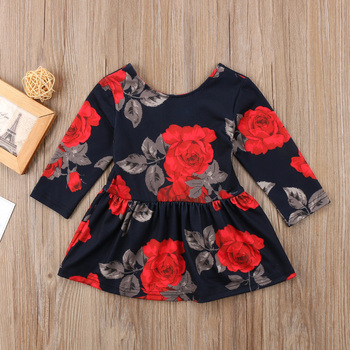 Newborn Clothes Fashion Baby Girl Floral Long Sleeve Party Pageant Prom Dress Winter Spring New year black dresses for baby girl 3