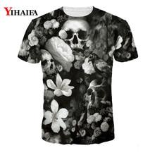 Summer New T shirt 3D Floral Skull Hipster Men Women Casual Tee Shirts Starry Short Sleeve Unisex Graphic Tees Tops short sleeve floral graphic tee