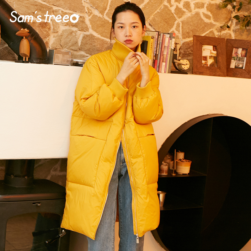 Samstree Turtleneck Winter Women   Down     Coats   Wide-waisted Thick Long   Coat   Solid Color Simple Female Snow Parka Outwear
