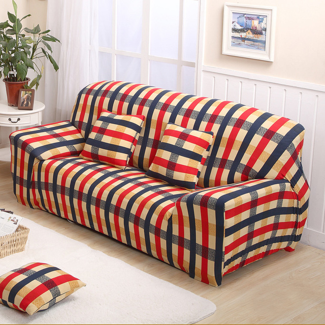 Plaid Sofa Cover Leather Sofa Slipcover Protective Case 1/2/3/4