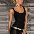 Burvogue горячей продаж красоты на сайте новые женщины Clubwear возглавляет новый сексуальный изысканный черное кружево майка