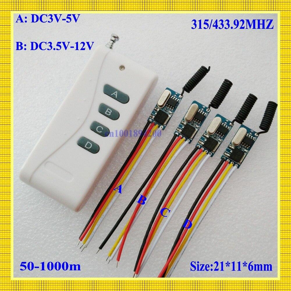 DC3.5V-12V RF Беспроводной Управление Лер DC3.6V 3,7 В 4,5 В 5 В 6 В 9V 12V мини-приемник передатчик Micro дистанционного Управление Мощность переключатель 433