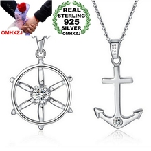 OMHXZJ Wholesale jewelry Anchor rudder AAA zircon 925 sterling silver woman man men pendant Charms PE31 ( NO Chain Necklace )