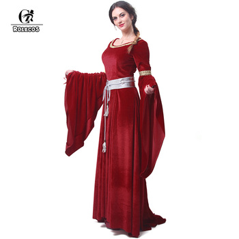 ROLECOS New Arrival Red and Blue Women's Halloween Evening Dresses Fashion Long Jurken with Belt Retro Ball Gowns Dresses GC209 1