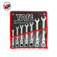 7pcs the key with combination Flexible ratchet wrench auto repair hand tools spanners a set of keys llaves herramientas D6121