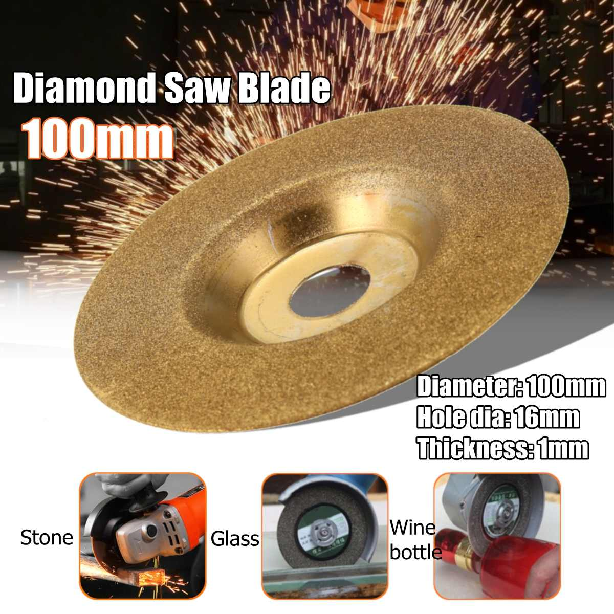 100x16mm Diamond Cutting Discs Wheel Saw Blade Dremel Rotary Tools For Glass Stone