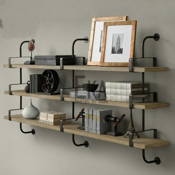Online Loft Retro Style Wood Wall Mount Shelf Bookcase American Antique Wrought Iron Parion Shelving Racks Aliexpress Mobile
