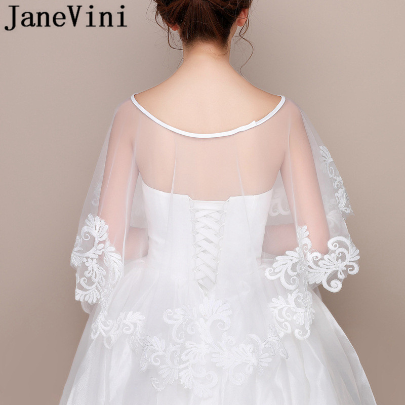 Купить с кэшбэком JaneVini High Quality Lace Bridal Cloak Boleros White Bolero Encaje Appliques Tulle Women Summer Stoles Wedding Wrap Cape Jacket