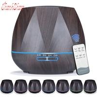 THANKSHARE 500ml Diffuser Remote Control Ultrasonic Air Humidifier Wood Grain Aromatherapy Essential Oil Aroma Diffuser