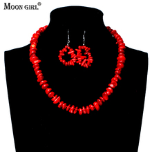 MOON GIRL New Design  Red Coral Beads Necklace & Earrings For Women Party Wedding Jewelry Sets Fashion African beads jewelry set fashion orange red artificial coral necklace nigerian wedding african beads jewelry set for women acb 06