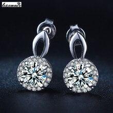 Classic Silver plated jewelry stud earrings purity AAA Cubic Zirconia vintage wedding women bijoux bague Accessories MYE037
