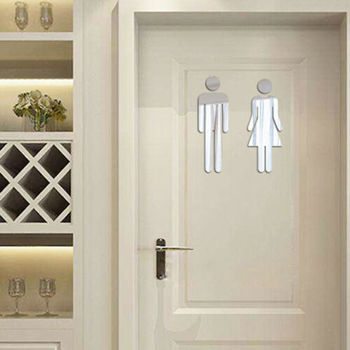 3D Toilet WC Man Women Sign Car Hotel Washroom Store Door Decor Wall Sticker image