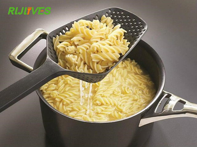 RLJLIVES 1Pc Black  Cooking Shovels Vegetable Strainer Scoop Nylon Spoon Large Colander Soup Filter Kitchen Tools