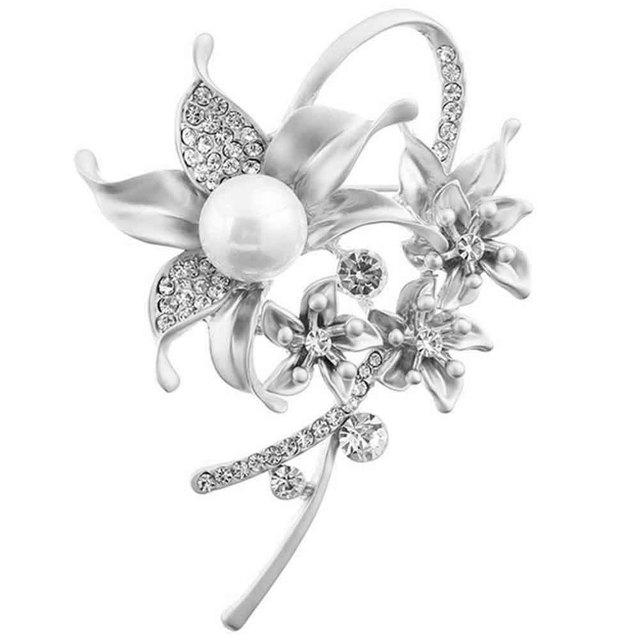 f9864659b1 US $7.38 |1PC Vintage Women Bride Faux Pearl Rhinestone Crystal Flower  Wedding Bridal Bouquet Brooch Pin Party Gift-in Brooches from Jewelry & ...