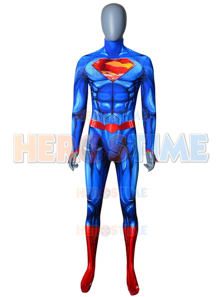 Custom Made Superman Costume Spandex Printing New Version Superman Halloween Zentai Bodysuit Cosplay Costume No Mask