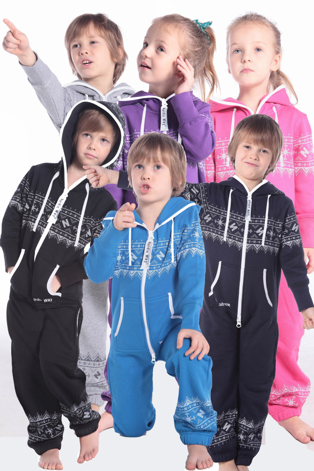 Nordic Way Printed One Piece Jumpusit All In One Fashion Kids Romper Hoody Fleece Overall handy all in one screwdrivers toolkit 31 piece set