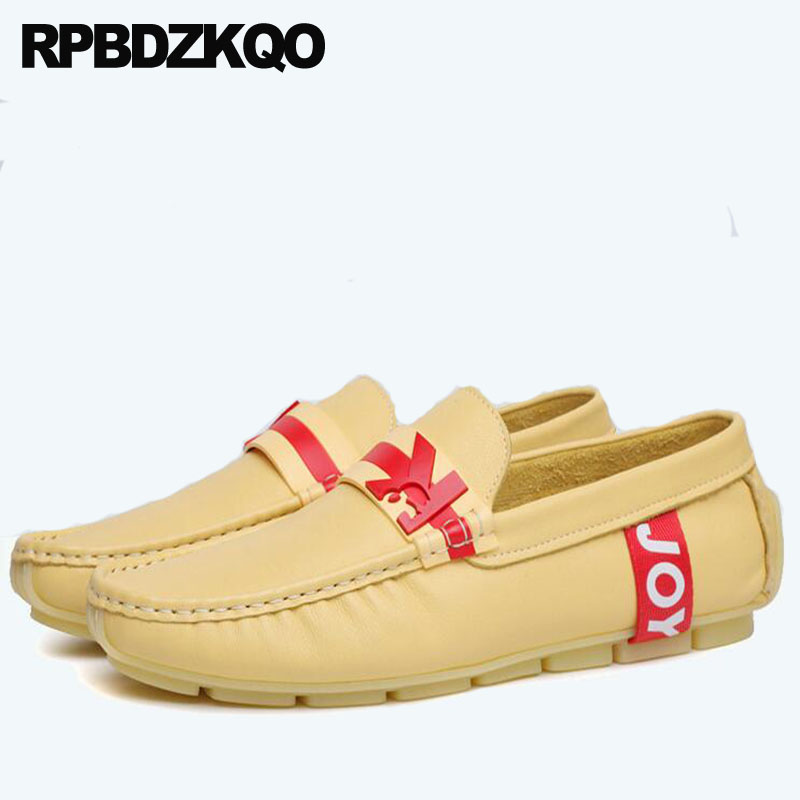 9c105d41914 Men Italy Casual Shoes Runway Soft Loafers Yellow Moccasins Italy Real  Leather Genuine Luxury Fashion Brand Driving European