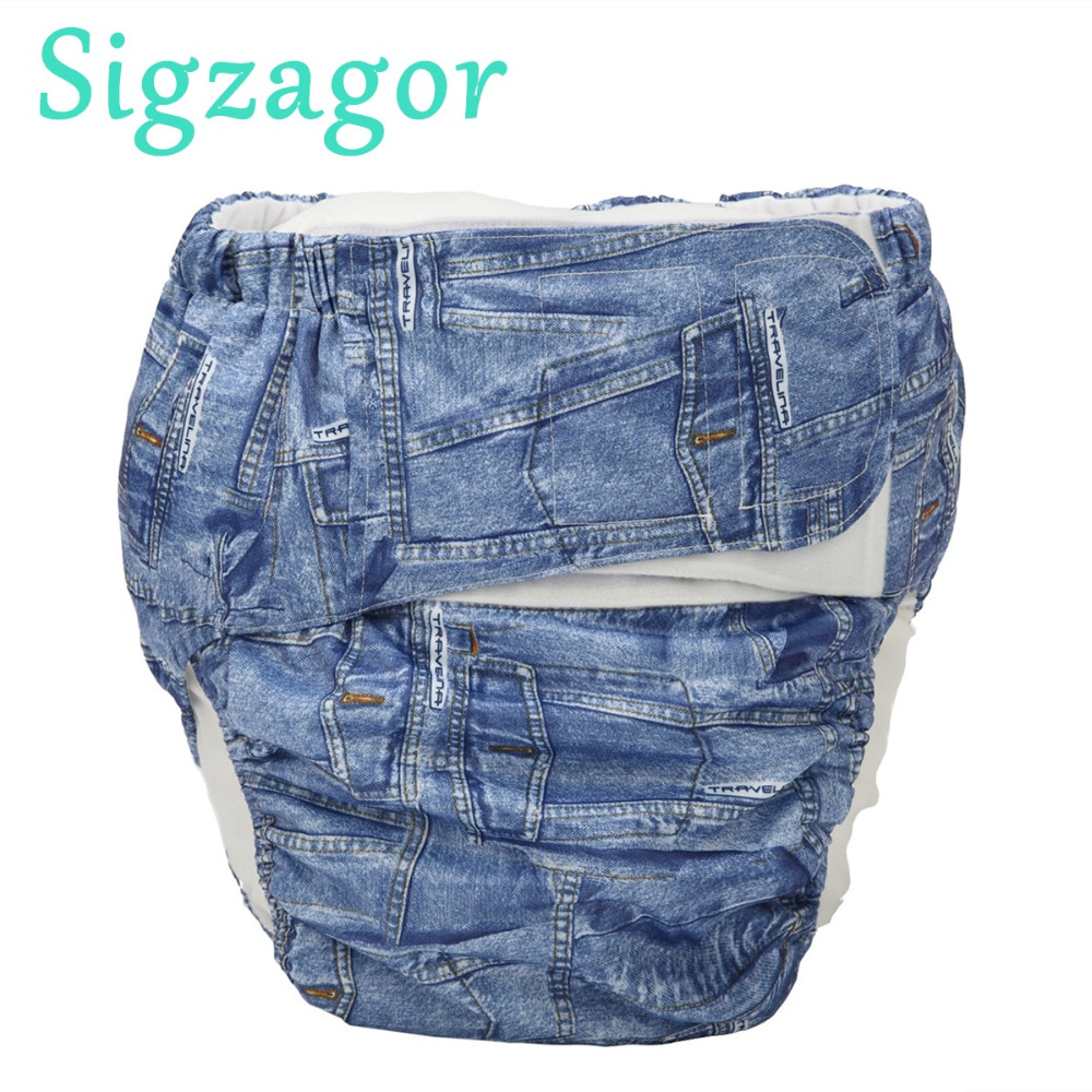 [Sigzagor]XL Adult Cloth Diaper Nappy Urinary Incontinence Pocket Reusable Hook Loop ABDL Age Play 68 To 128 Cm 26.7in To 50.4in