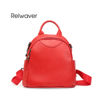 Relwaver Purple Genuine Leather Backpack Small Soft Real Leather Women Backpack Black Red Female School Bags