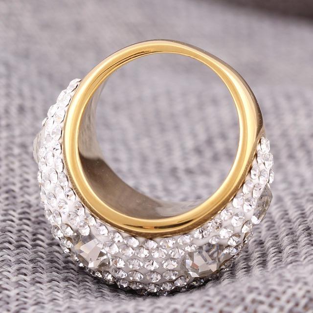 Gold Plated Austrian Crystal Wedding Ring