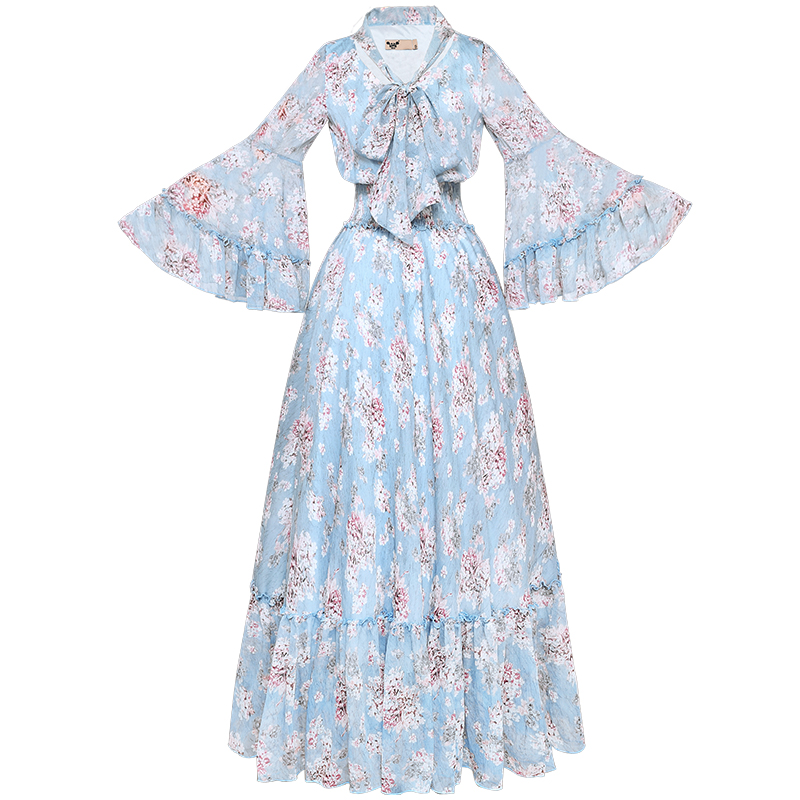 Free Shipping Boshow 2019 New Fashion Autumn Spring Elastic Waist Long Maxi Ruffles Sleeve S-L Pink Chiffon Print Flower Dresses