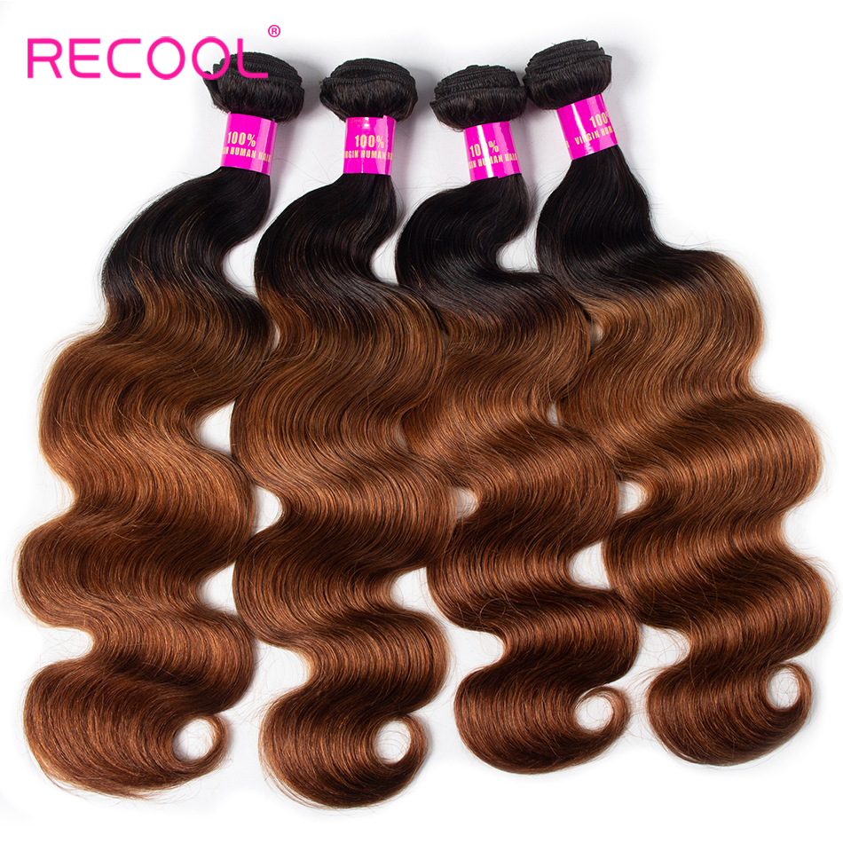 Recool Hair Body Wave Bundles 1B 30 Ombre Hair Bundles Remy Human Hair 4 Bundles Brazilian
