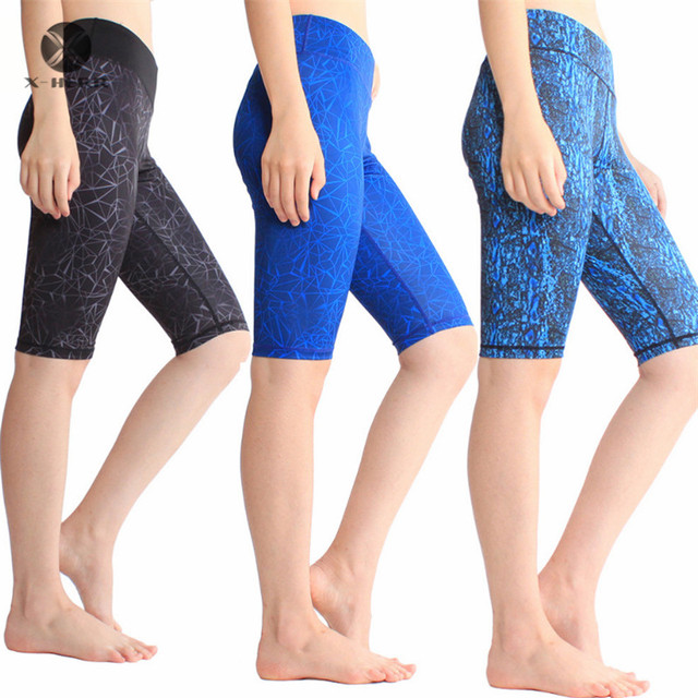 X-HERR Knee Length Sports Fitness Printed Elastic Quick Dry Yoga Shorts Many Colors XL Exercise Tight Sportswear Women Shorts