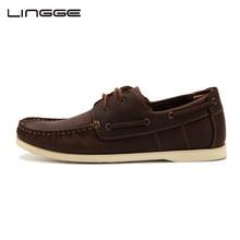 LINGGE классический 2-проушина Натуральная кожа кроссовки мужские летние Обувь для лодок Производитель обувь мужчины #3832-6