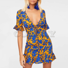 Cuerly summer 2019 boho chic print dress women v neck lace up ruffle party club beach sexy mini dresses