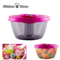 Pop Candy Bowl Round Food Grade Plastic Bowl With Expandable Slicone Lid Portable Utensil