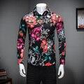 Homens Casuais de alta Qualidade Camisa Moda Primavera 2017 Manga Longa Fino Fit Homens Camisa Floral Turn Down Casual Mens Camisas Sociais 5XL