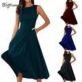 4 cores bonito summer dress cor sólida sem mangas o pescoço mulheres empire mid-calf evening party dress hot sale frete grátis
