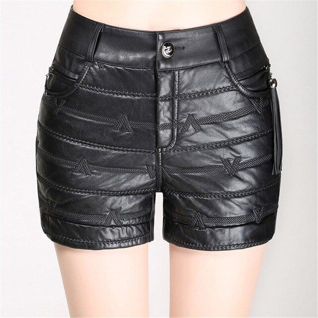 fff1a120d30a49 € 23.53  En cuir Shorts Femmes Nouvelle Arrivée De Mode D'hiver Femmes  Dentelle En Cuir Short Noir Taille Haute PU Shorts Plus La Taille M 4XL ...