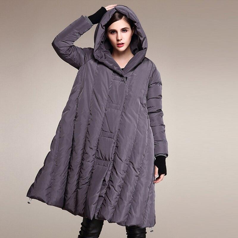 YNZZU estilo europeo chaquetas de plumón para mujer elegante suelto blanco pato abajo abrigos con capucha mujeres calientes chaqueta de invierno talla grande 5XL 6XL 7XL-in Plumíferos from Ropa de mujer    3