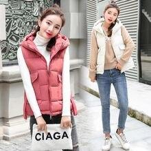 купить Women Cotton Hooded Down Vest 2018 New Female Thicken Winter Warm Black Jacket Outerwear New plus size 3XL по цене 1001.72 рублей