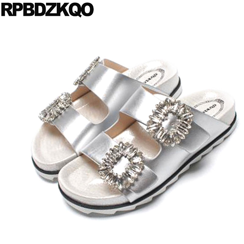 Sandals Slipper Jewel Diamond Rhinestone Slides Famous Brand Flat Crystal Burgundy Satin Designer Shoes Women Luxury 2017 Silver