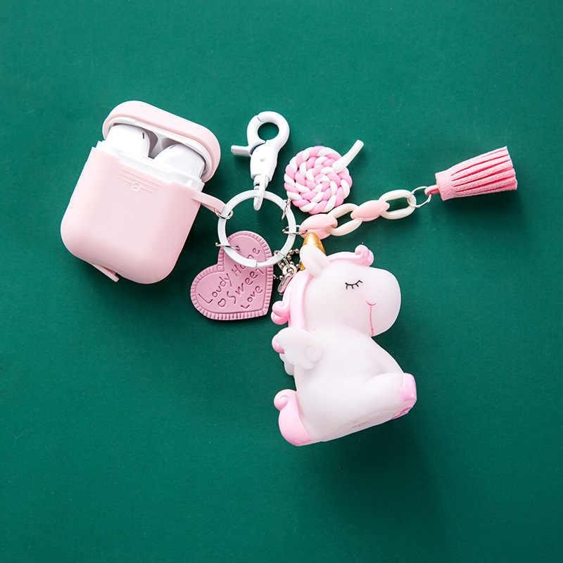 Śliczne tęczowa opaska jednorożec lalki brelok wisiorek dla torba kobieca Charms dla Apple AirPods bezprzewodowy Bluetooth słuchawki silikonowe etui