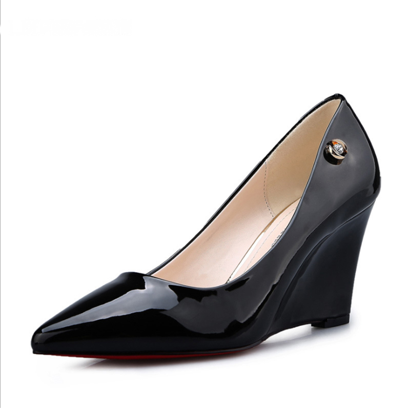 Sexy Wedges Women Pumps Metal Decoration Pointed Toe Slip-On Party Shoes Solid High Heels(China)