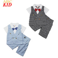 Hot Sale Baby Boys Clothes Set Gentleman Vest Design Shirt Plaid Pants Kids Clothes Suits Bow
